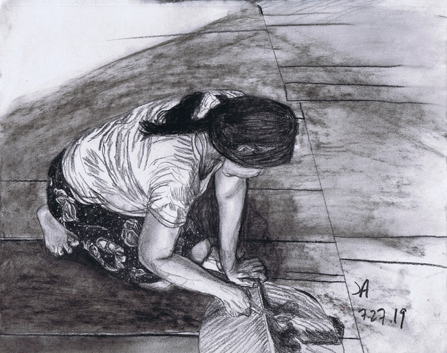"""""""Dahlia making chocolate"""", charcoal on 11' x 14"""" paper, $300"""