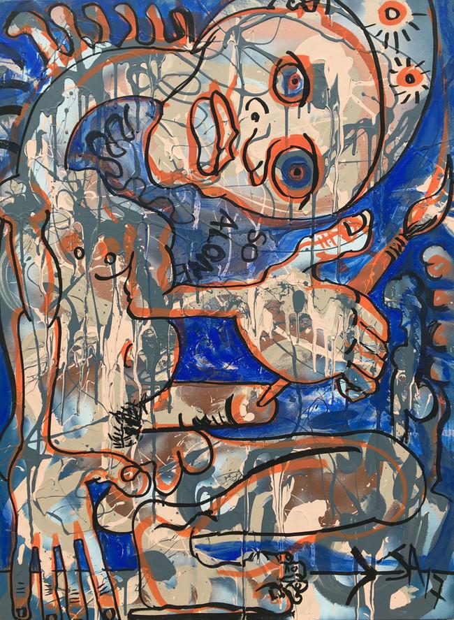 """""""So Alone"""",  mixed media on canvas, 30"""" x 40"""", $,2000"""