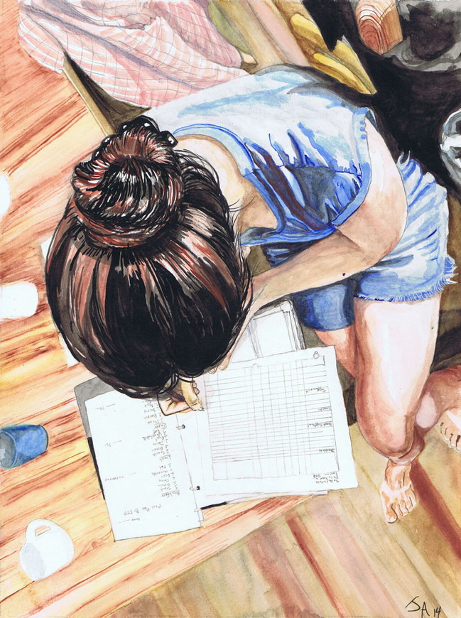 """""""She Plans the Week Ahead"""", 9"""" x 12"""", watercolor on paper, N.F.S"""