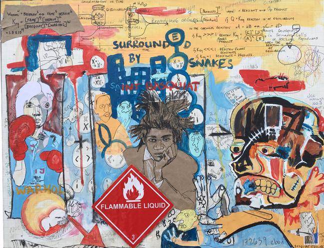 """Portrait of Basquiat- C.E."", 22"" x 17"", mixed on matte board, $1,000"