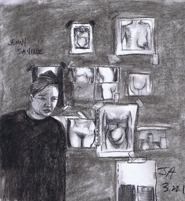 """Portrait of Jenny Saville"", charcoal on 11"" x 14"" paper, $300"