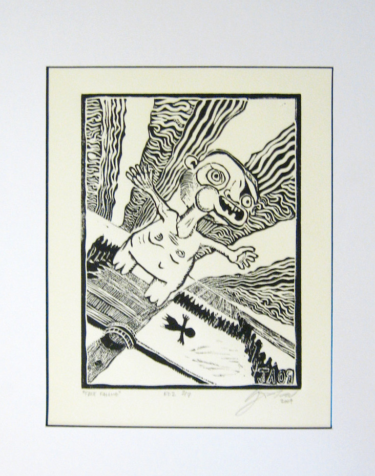 """Free Fall"", 8"" x 6"", hand pulled block print, $135"