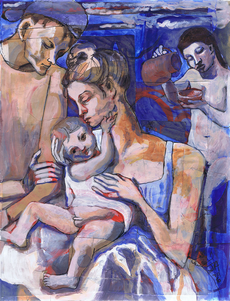 """""""Family after picasso... girl with pitcher"""", 11""""x 17"""", acrylic on paper, $400"""