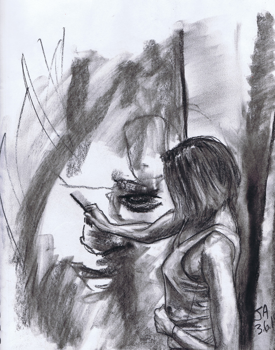 """Portrait of Khristina Bodnaruk at work in her studio"", charcoal on 11"" x 14"" paper, $300"