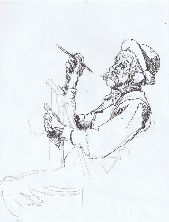 """""""Drawing from a Norman Rockwell painting"""", *""""  10"""", pencil and ink on paper, sold"""