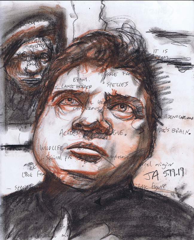 """""""Portrait of Francis Bacon..."""" charcoal and pen on 11"""" x 14""""paper, $300"""