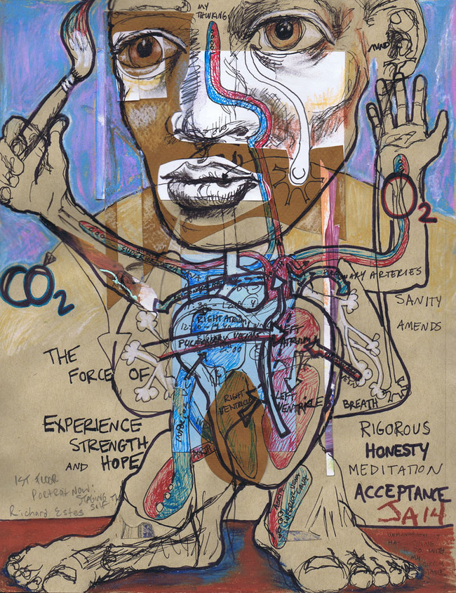 """""""Honesty acceptance and the breath brain connection"""" 9"""" x 12"""", mixed on paper, N.F.S."""