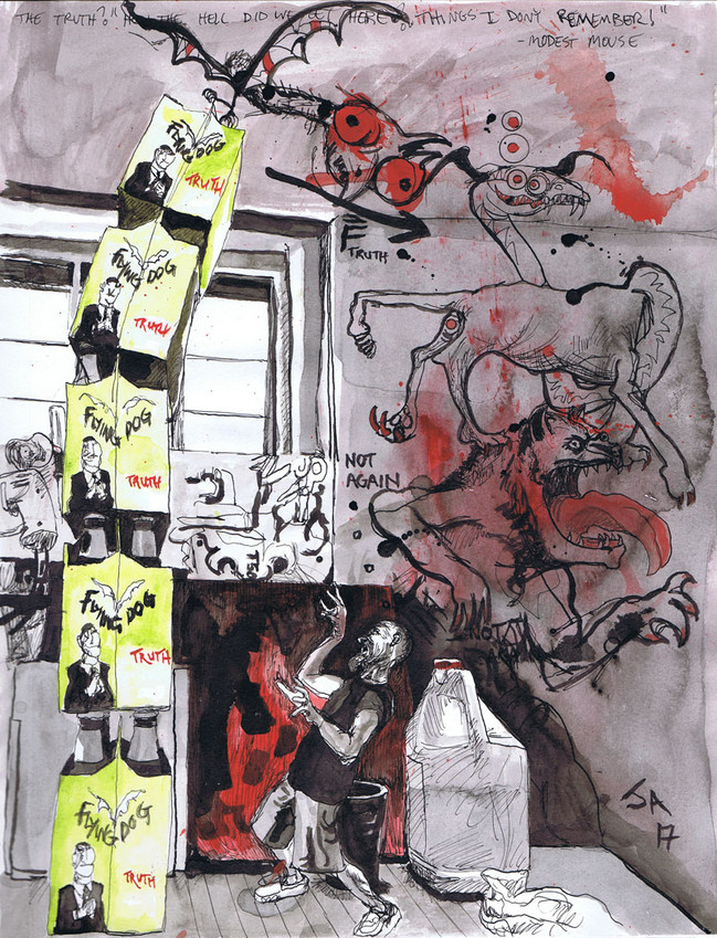"""""""Still life on work table with a portrait of the artist confronted with the truth"""", 9"""" x 12"""", ink and watercolor on paper, N.F.S."""
