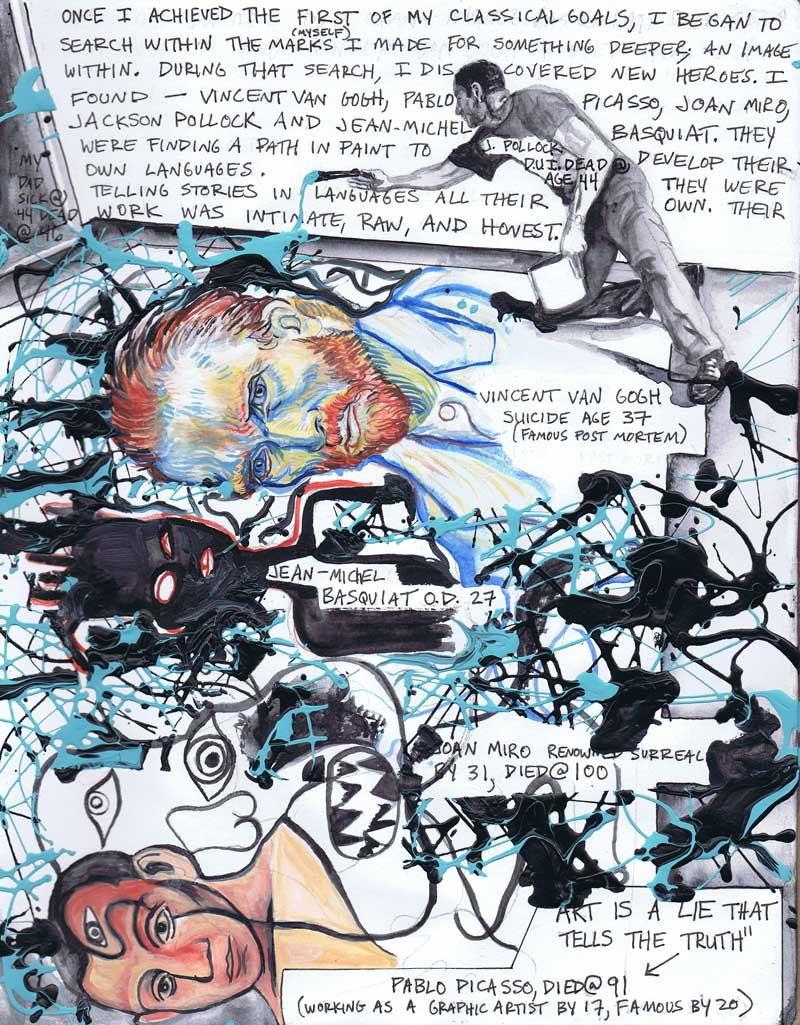 """""""Panel 2 graphic novel my life"""", 9"""" x 12"""", mixed on paper, N.F.S."""