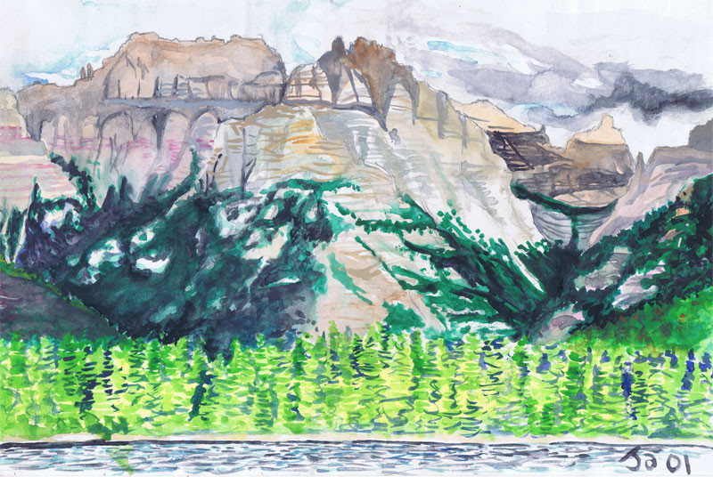 """Lake and Mountain, Glacier Park"", 9"" x 12"" watercolor on paper, sold"