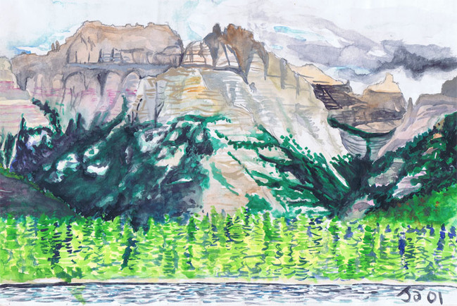 """""""Lake and Mountain, Glacier Park"""", 9"""" x 12"""" watercolor on paper, sold"""