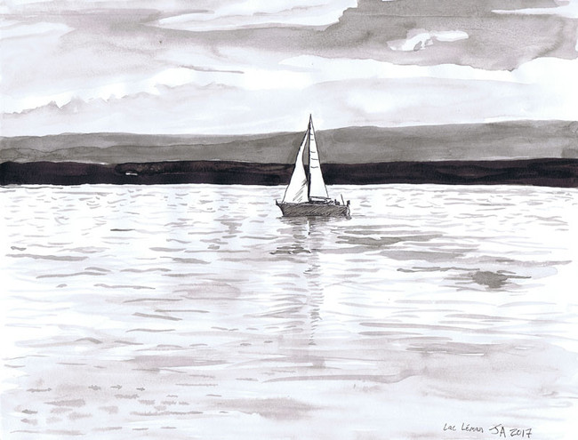 """""""Sailboat on Lac Lemon""""' 9"""" x 12"""" ink on paper, N.F.S."""