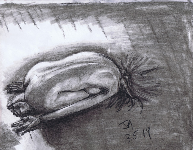 """""""Nude on the floor after Stefan Froehlich"""", charcoal on 11"""" x 14"""" paper, $300"""