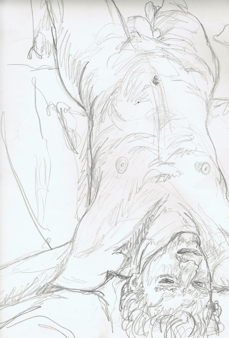 """Lying Male Nude"", 18"" x 24"", pencil on paper, $250"