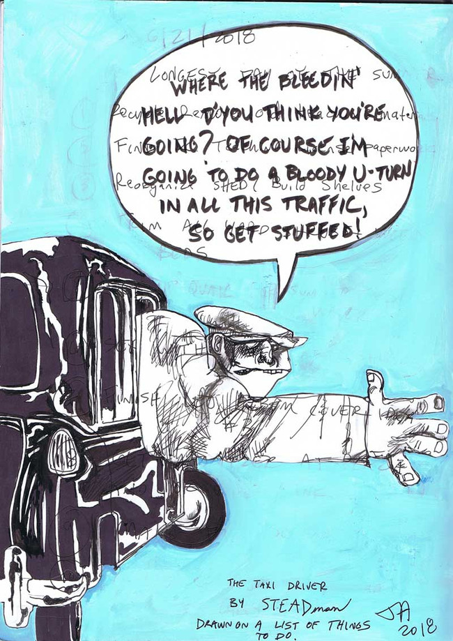 """Taxi driver by Ralph Steadman"", 9"" x 12"", marker, pen, paint pen on paper, N.F.S."