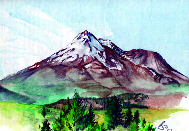 """""""Mt. Shasta"""", 9"""" x 12"""" watercolor on paper, sold"""
