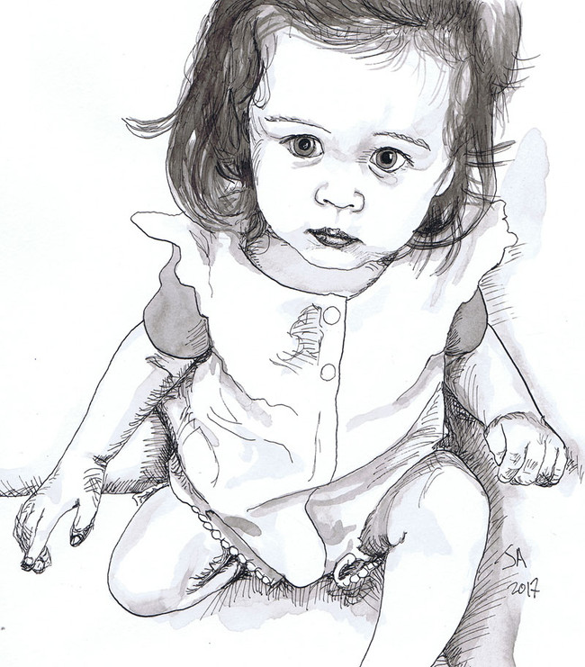 """""""Portrait of Katya"""" 9"""" x 12"""" brush and ink on paper, sold"""
