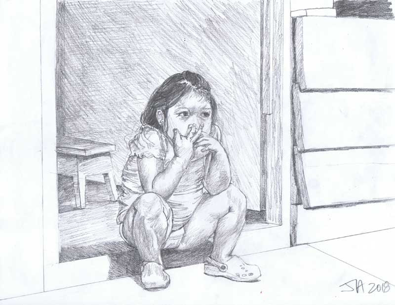 "Little girl.... Iquitos, Peru"", pencil on 9"" x 12"" paper, $250"