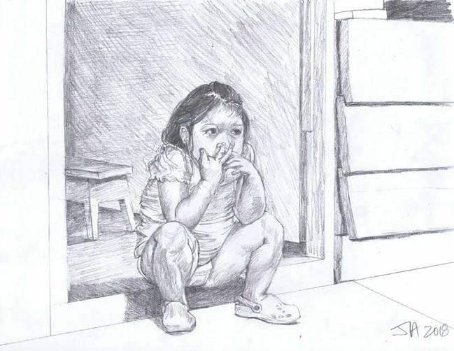 """Little girl.... Iquitos, Peru"""", pencil on 9"""" x 12"""" paper, $250"""