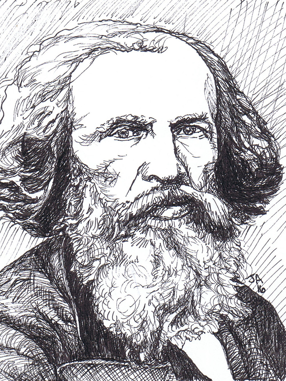 """Portrait of Dimitri Mendeleev"", 3.5"" x 3.5"", pen on paper, N.F.S."