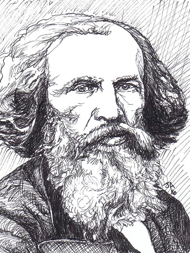 """Portrait of Dimitri Mendeleev"", 3.5"" x 3.5"", pen on paper, N.F.S."