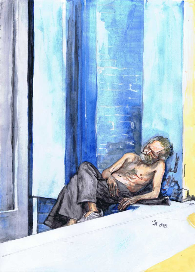 """""""Man without a home asleep in Manhattan"""", Watercolor on 9"""" x 12"""" paper, $500"""