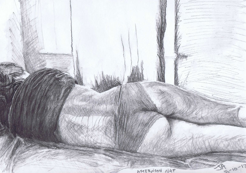 """Afternoon Nap"", 9"" x 12"" charcoal on paper, sold"