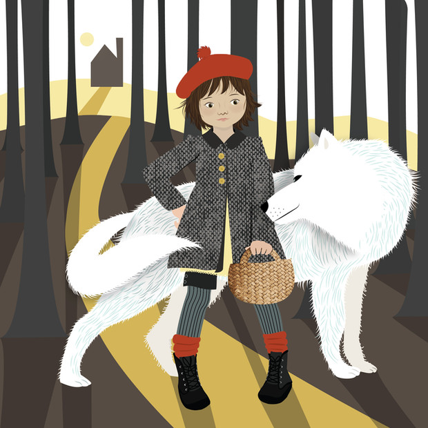 Red Riding Hood Faces The Wolf