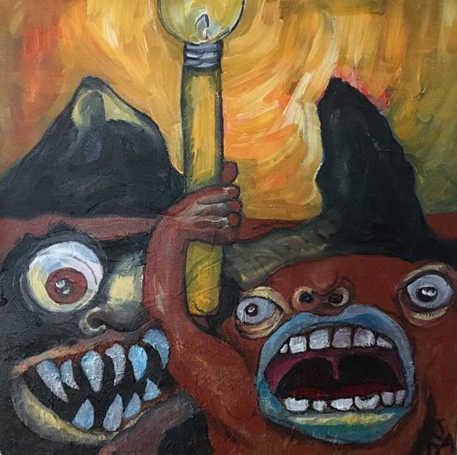 """""""Monster Light"""", 8"""" x 8"""" oil on canvas, $300"""