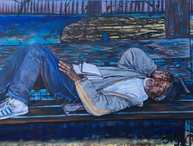 """Man asleep in Marcus Garvey Park Harlem"", mixed and oil on 30"" x 40"" canvas, $3000, 2019"