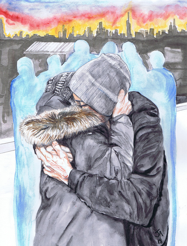 """""""Saying goodbye at the airport"""", mixed and watercolor on 9"""" x 12"""" paper, $300"""