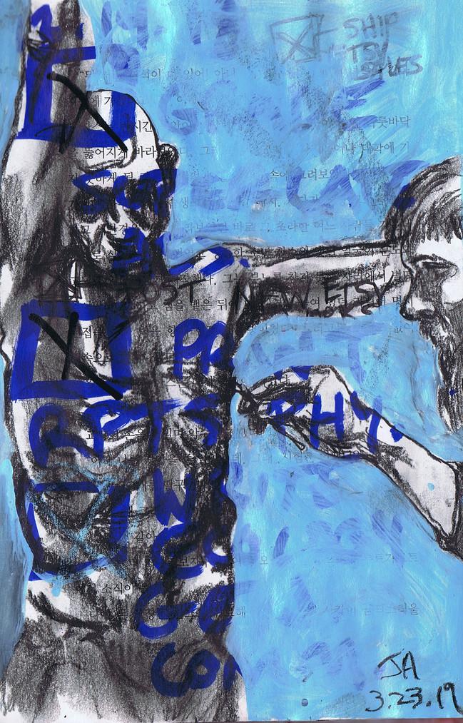 """Eirik Arneson working in his studio"". mixed on repurposed book, 6"" x 8"", N.F.S."