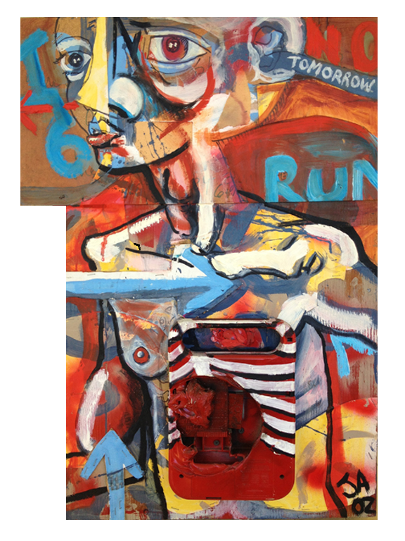 """Run, there is no tomorrow"", mixed media on plywood, 18""x 24"", $3,000"