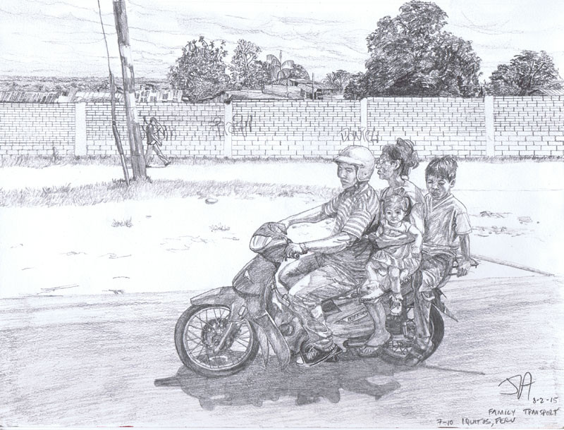 """Family transportation in Iquitos, Peru"", 9"" x 12"", pencil on paper, N.F.S."