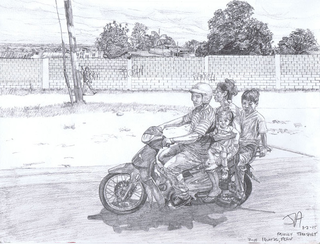 """""""Family transportation in Iquitos, Peru"""", 9"""" x 12"""", pencil on paper, N.F.S."""