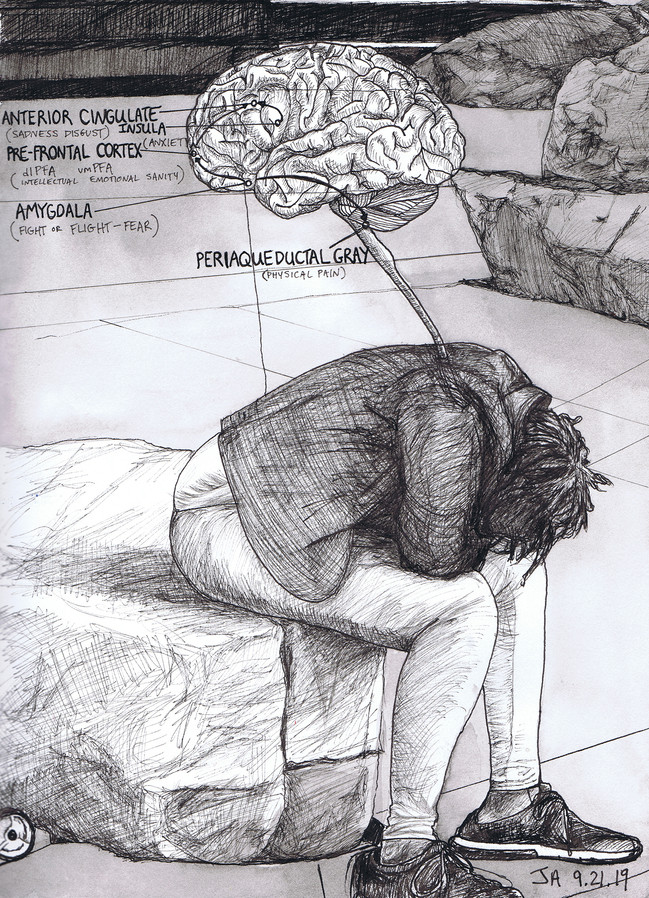 """Left out, the neurobiology of isolation"""", ink on 12"""" x 9"""" paper, sold"""