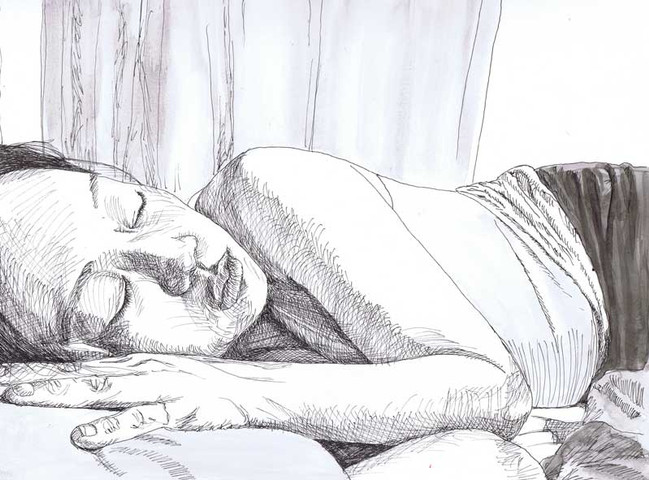 """""""She Sleeps Perchance to Dream"""", 9"""" x 12"""", pen on paper, N.F.S."""