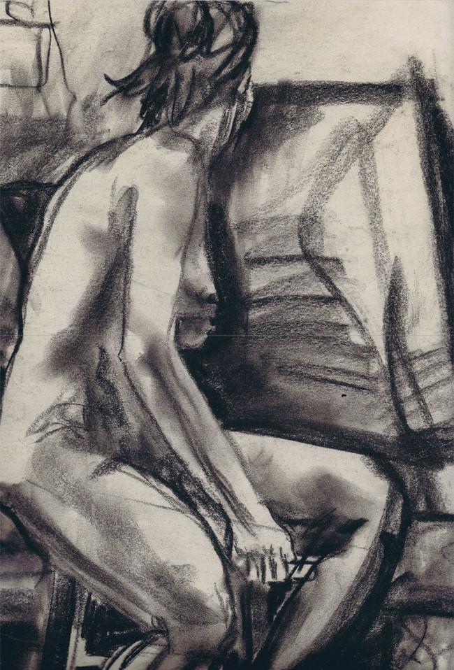 """Nude Woman Turning on Stool"", 18"" x 24"", charcoal on newsprint, $150"