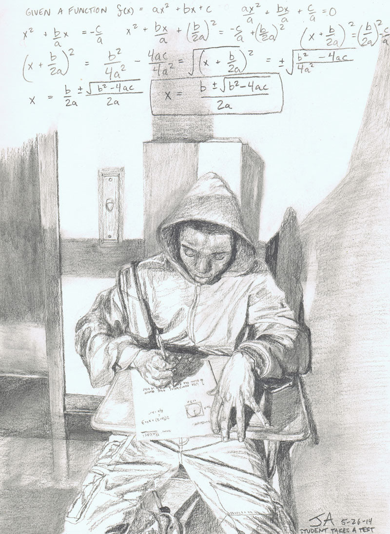 """Student takes a math test in the hallway morning light"", 9"" x 12"", pencil on paper, N.F.S."