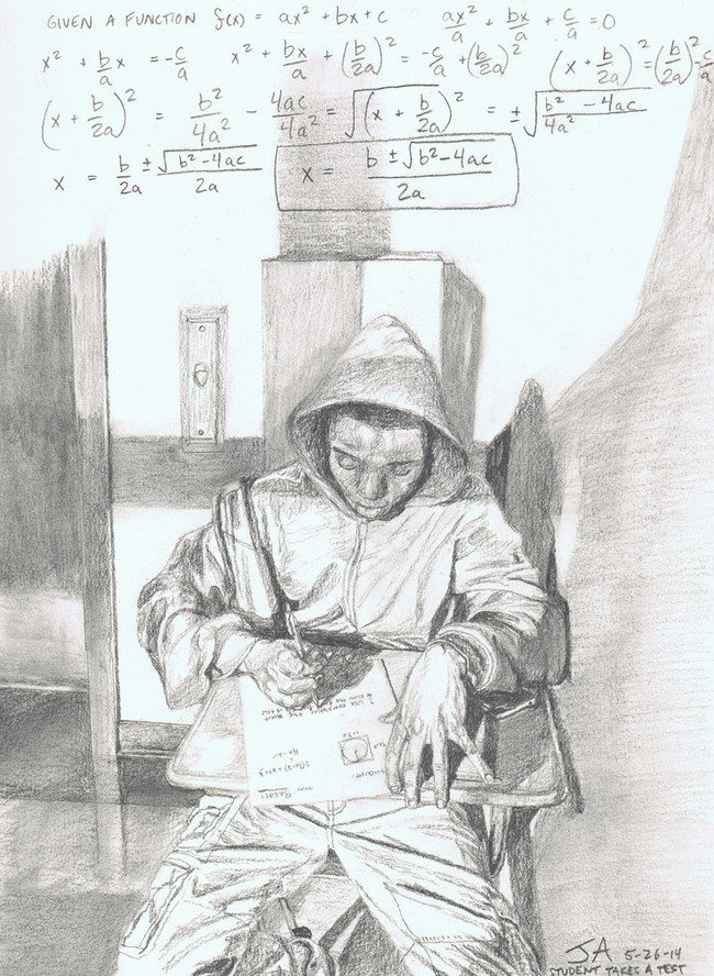"""""""Student takes a math test in the hallway morning light"""", 9"""" x 12"""", pencil on paper, N.F.S."""