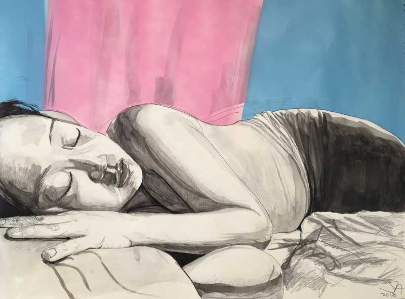 """She Sleeps Perchance to Dream 3"", 18"" x 24"" mixed on paper, $450"