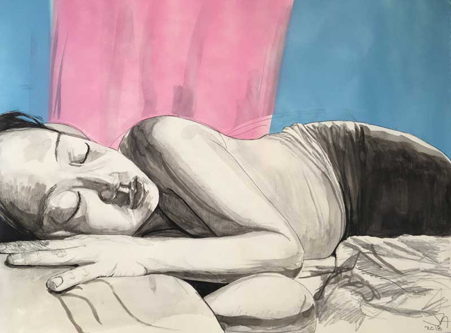 """""""She Sleeps Perchance to Dream 3"""", 18"""" x 24"""" mixed on paper, $450"""