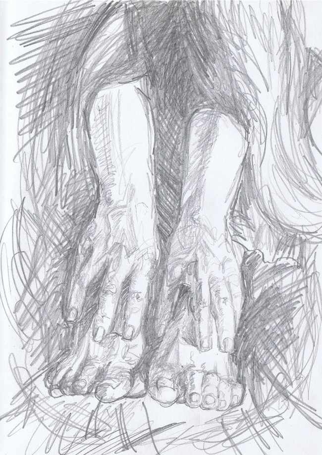 """Hands, Feet, Hair"". 8"" x 10"", pencil on paper, $150"