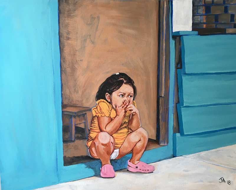 """Little girl... in Iquitos, Peru"", acrylic on 16"" x 20"" canvas, $450"