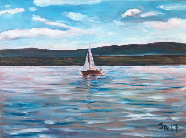 """Sailboat on Lac Lemon, Switzerland"", 18"" x 24"", oil on canvas, sold"