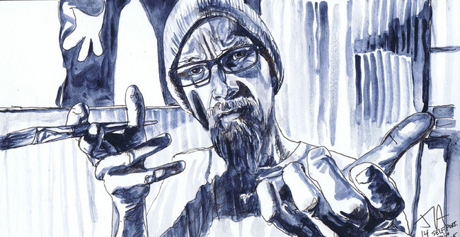 """""""Portrait of the artist"""" 6"""" x 9.5"""" indigo ink and pen on paper, N.F.S."""