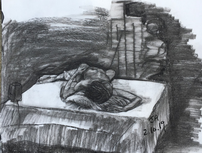 """""""Model reclining on platform"""" charcoal on 18"""" x 24"""" paper, 2019, $300"""
