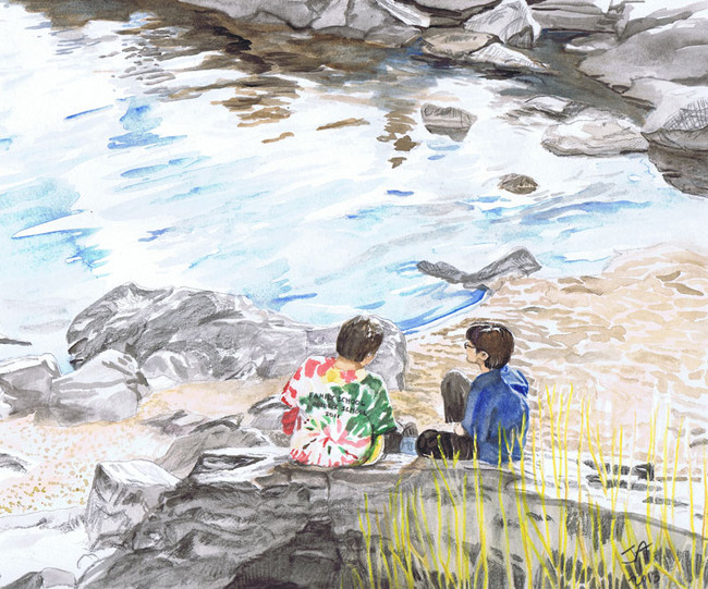 """""""Best friends sitting on a rock"""", 9"""" x 12"""" watercolor on paper, sold"""