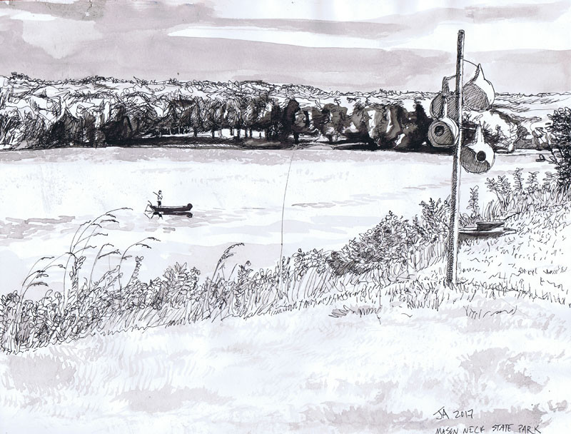 """Chesapeake Bay at Mason Neck"", 9"" x 12"", ink on paper, N.F.S."