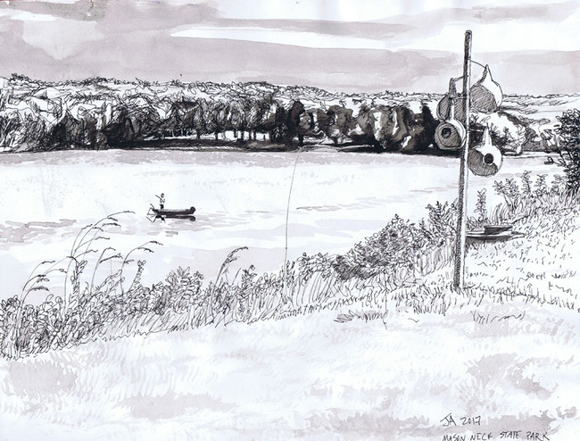 """Chesapeake Bay at Mason Neck"", 9"" x 12"", ink on paper, N.F.S."